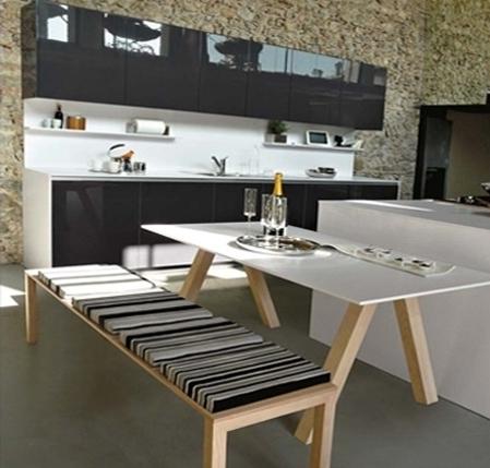 Cucina componibile orange snaidero carminati e sonzogni for Tavolo cucina con panca