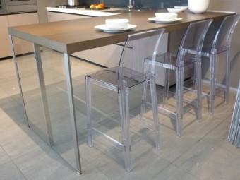 outlet cucine, cucina Digma DeMode Valcucine - particolare tavolo penisola in legno rovere grigio