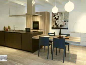 cucina Tratto La Casa Moderna con isola in laminato coten e tavolo in laminato rovere