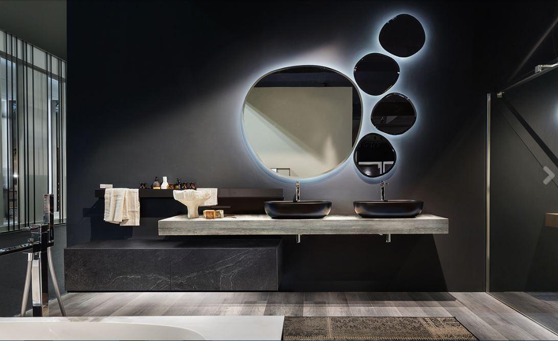 BAGNO EDONE con base marmorizzata e specchi ovali