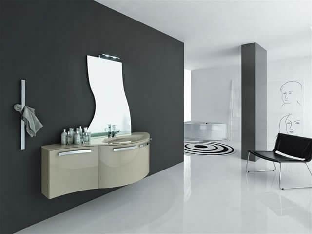 bagno metropolis canapa lucido con specchio sagomato, piano in vetro con lavabo fuso