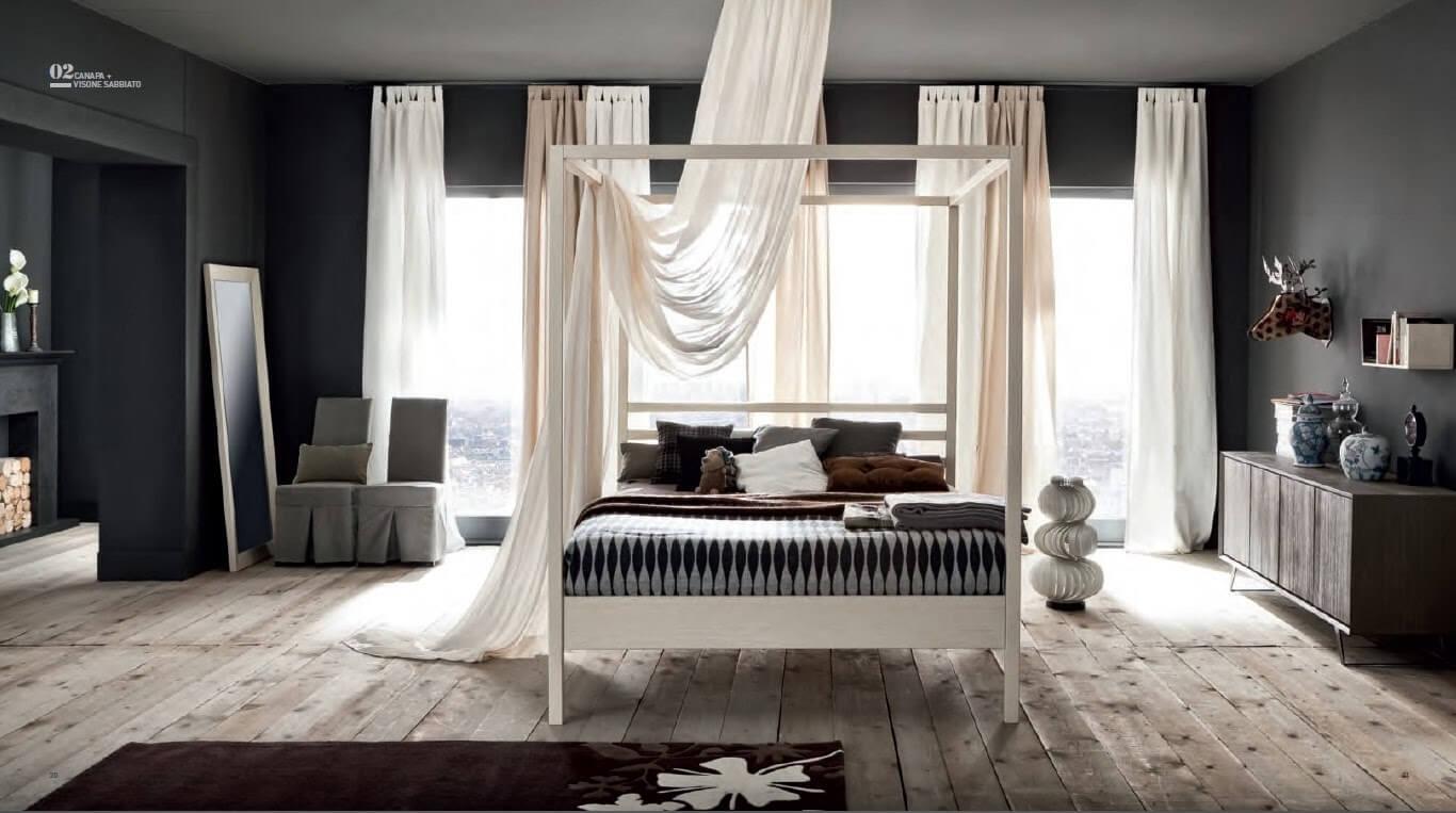 camera con letto con baldacchino in legno massello laccato o ...