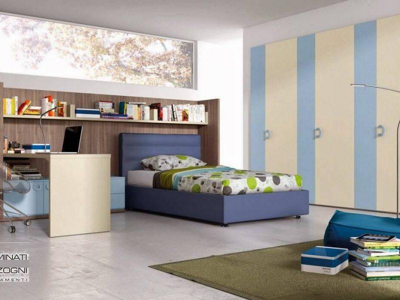 camera da ragazzo con letto imbottito con contenitore da una piazza e mezza, libreria con scrivania scorrevole