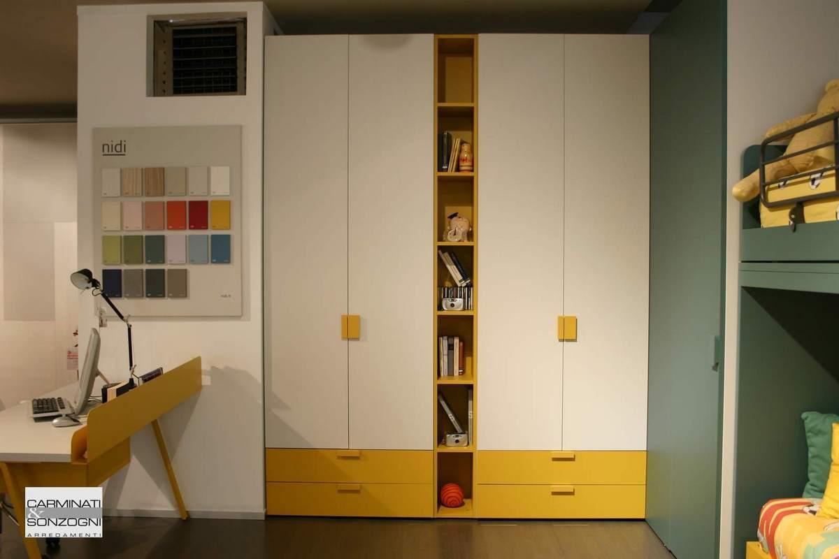 cameretta Nidi con armadio con libreeria, cabina armadio e letto a castello, Bergamo