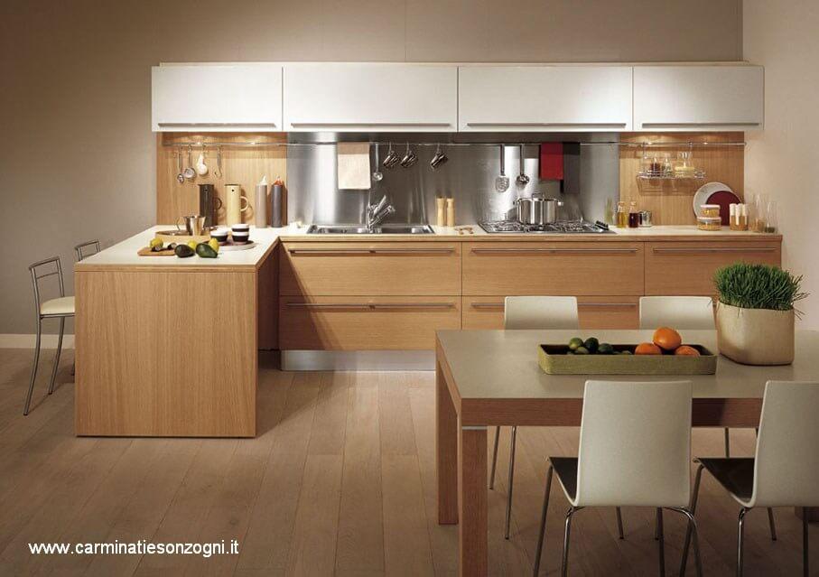 Cucina snaidero modello sistema zeta legno rovere laminato bianco