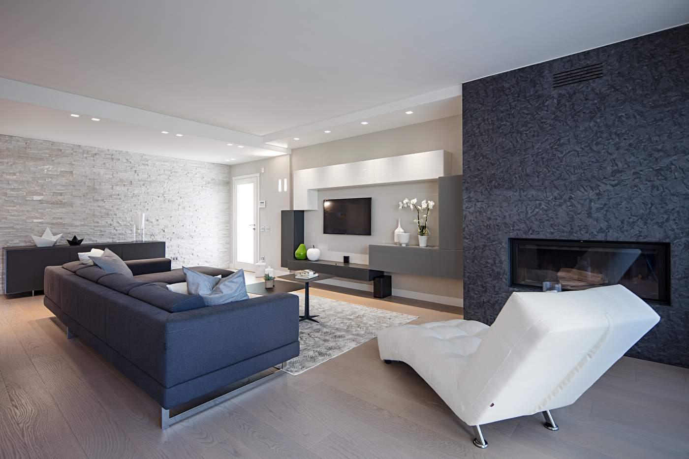 divano con penisola, chaise longue, mobile da soggiorno tv Lago,