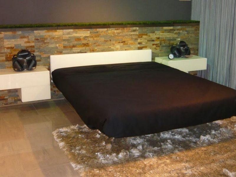 letto Fluttua Lago mobili - sospeso con testiera pelle bianca, comodini sospesi della serie 36e8 Lago mobili, laccati bianchi e frontali vetro