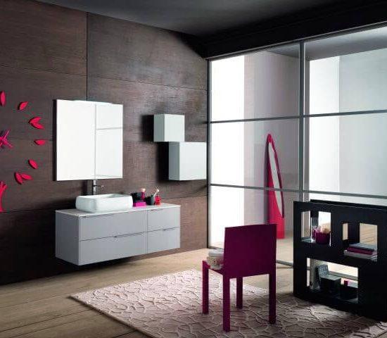 linea grigio chiaro composizione con lavabo sopra piano