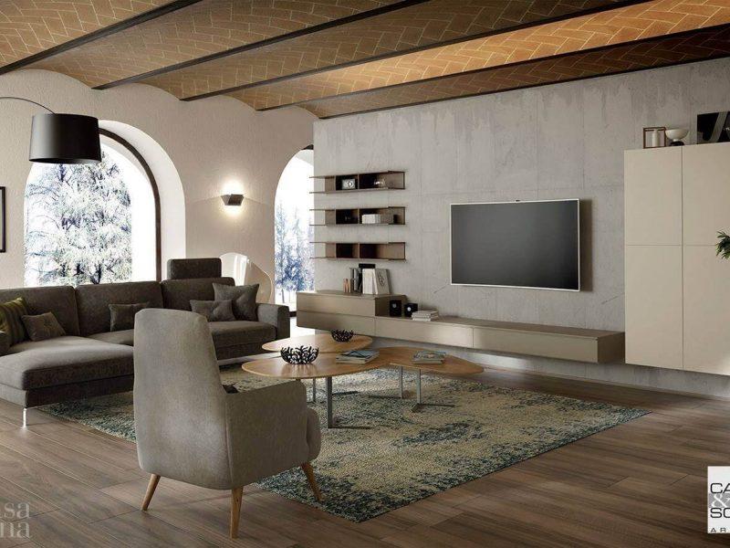 Mobile moderno da soggiorno con basi sospese collezione solida day