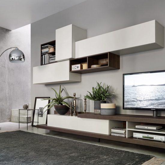 Mobile da soggiorno Lampo con tv girevole su base, basi rovere ardesia pensili bianchi