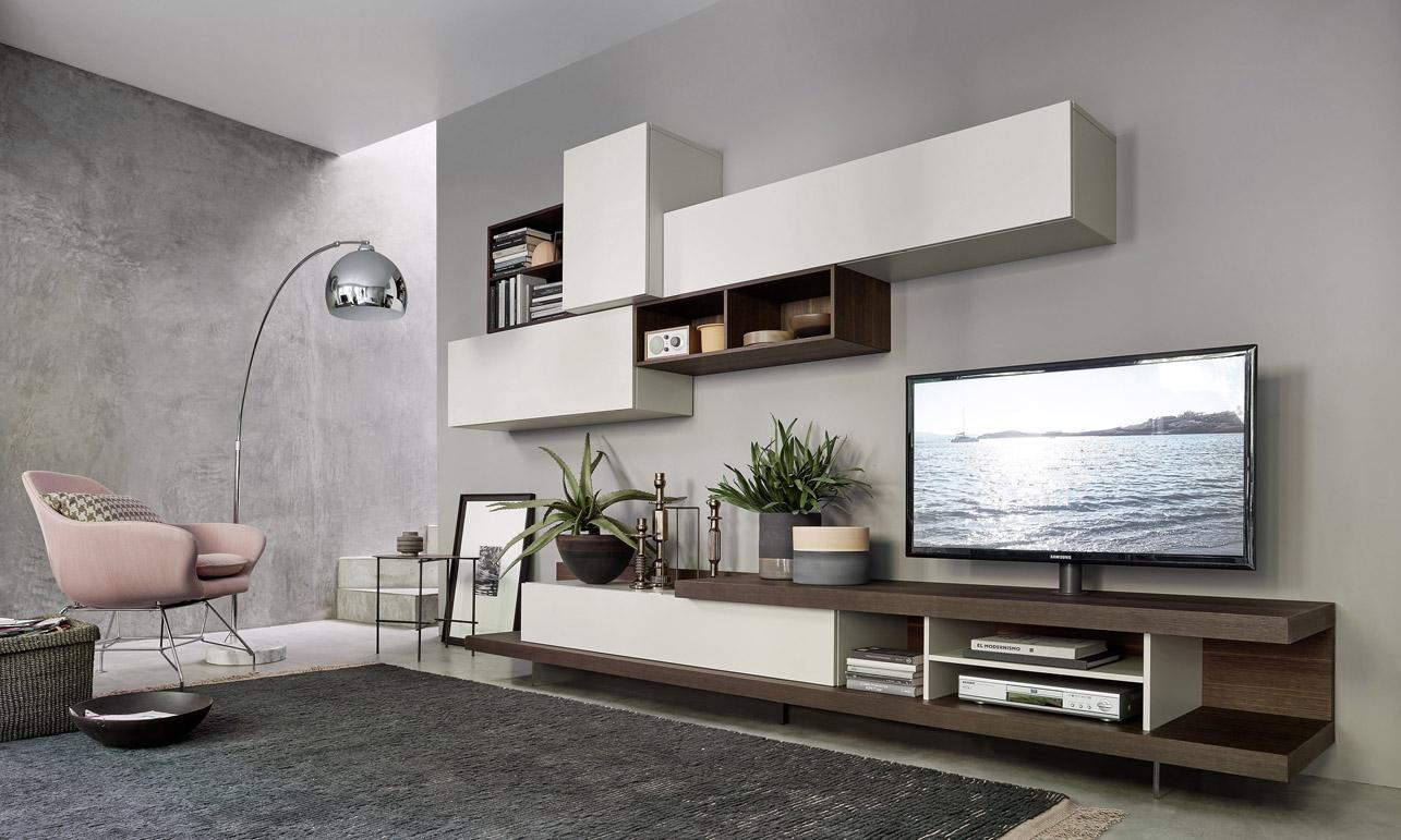 Mobile da soggiorno Lampo con tv girevole su base, basi rovere ...