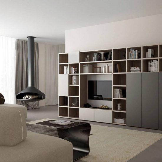 Mobile da soggiorno moderno,libreria a terra collezione Modula