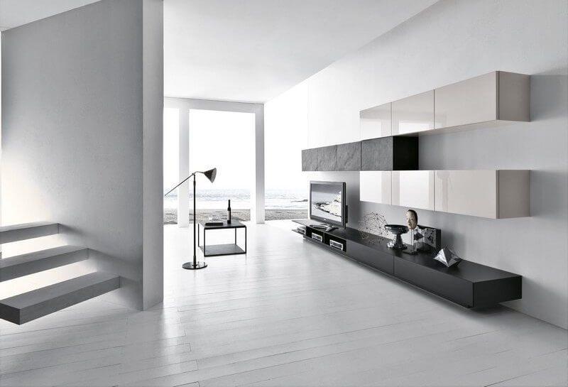 Mobile da soggiorno Modulart con base con cassetti rialzata con vani porta stereo e pensili laccati e pietra