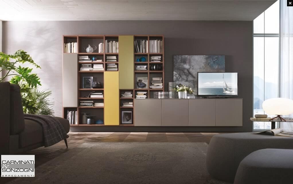 Mobile da soggiorno sospeso con libreria carminati e for Mobili moderni da soggiorno