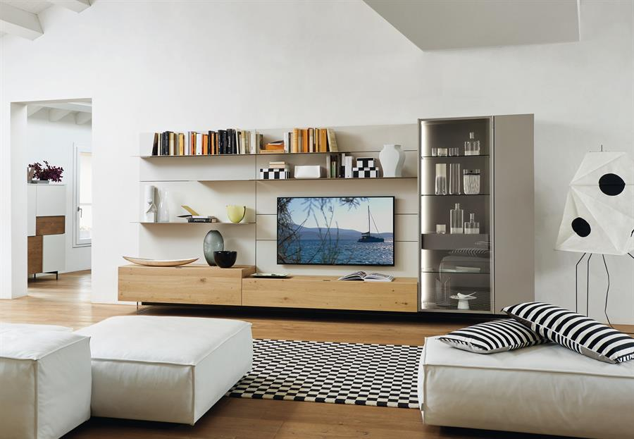 Mobili moderni da soggiorno lampo con boiserie carminati for Mobili per salotto moderni