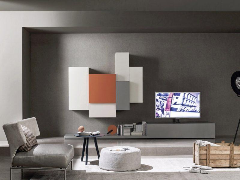 Mobili da soggiorno moderni, modello Lampo laccato grigio, arancio, bianco