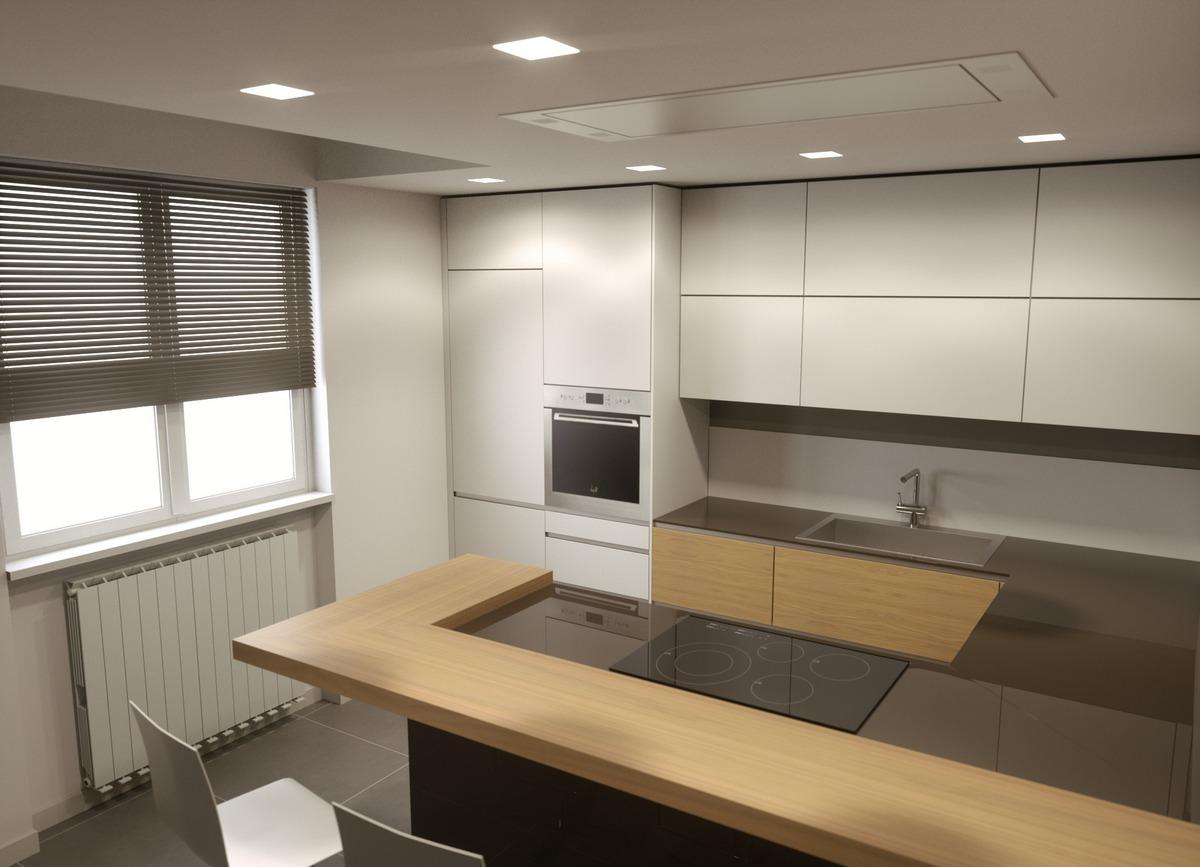 progetto rendering di una cucina Valcucina a Bergamo, vista della penisola e zona snack
