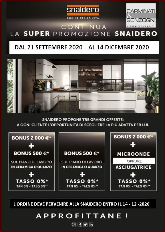 promozione cucine snaidero bonus 2000