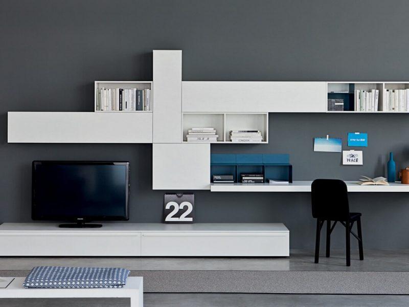 Soggiorno Lampo collezione LA CASA MODERNA -L2-27 noce e laccato bianco con pianale portacomputer